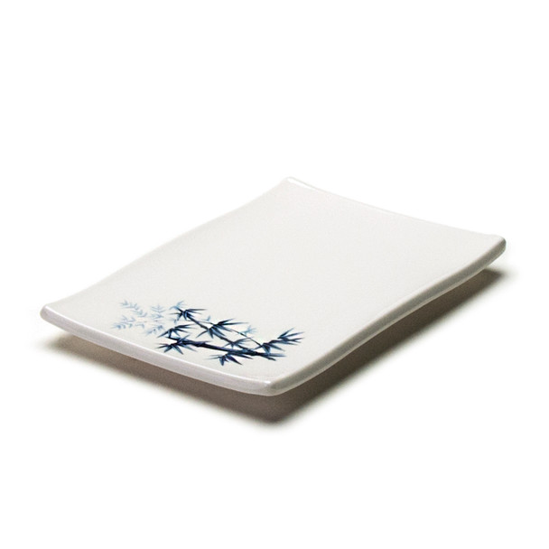 "Melamine Rectangle Plate, 12pc, 8-3/8""x5-5/8"" (Elegant Blue Bamboo)"