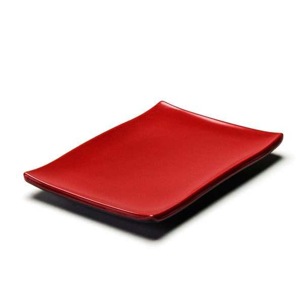 "Melamine Rectangle Plate, 12pc, 8-3/8""x5-5/8"" (Black/Red)"