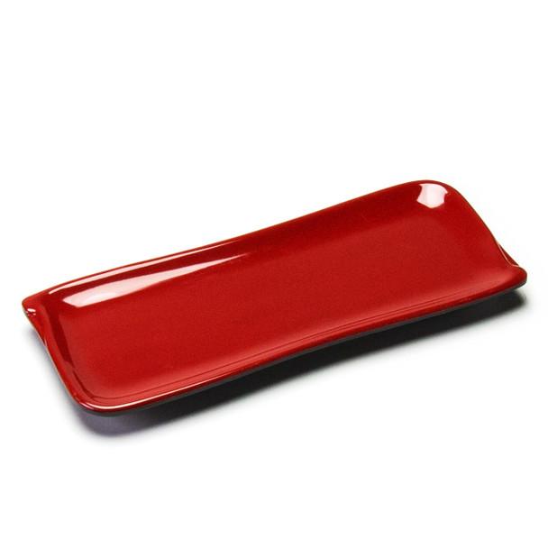 "Melamine Rectangle Plate, 12pc, 10""x4"" (Black/Red)"