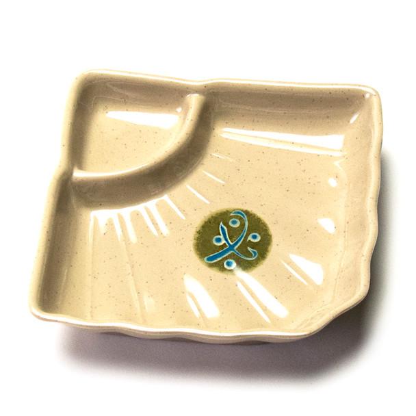 "Melamine Divided Plate,  6pc, 6"" (Green)"