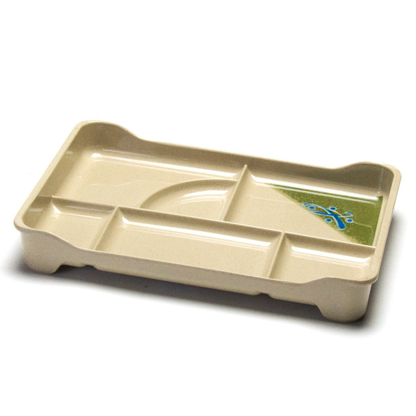 "Melamine Bento Tray, 4pc, 13.75""x9""x2""H (Green)"