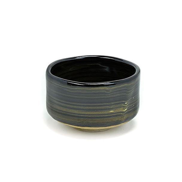 "Handcrafted Matcha Bowl 4.25""Dx2.75""H, Gold Stripe"