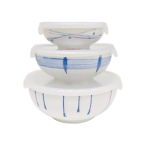 Kansai Yamamoto Blue & White Shallow Bowls with Lids, Set of 3