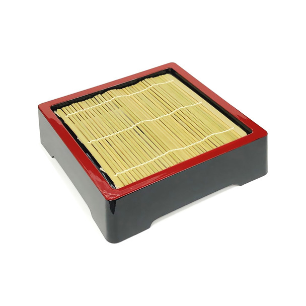 Plastic Lacquer Soba Tray with Wood Mat