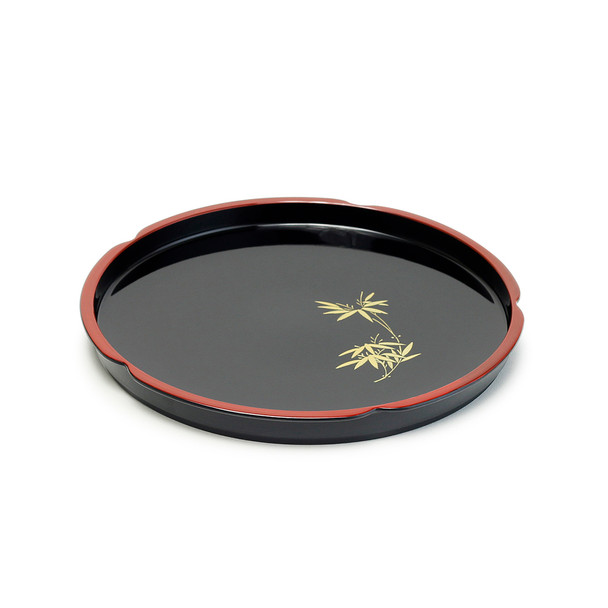 Plastic Lacquer Round Tray, Gold Foliage on Black