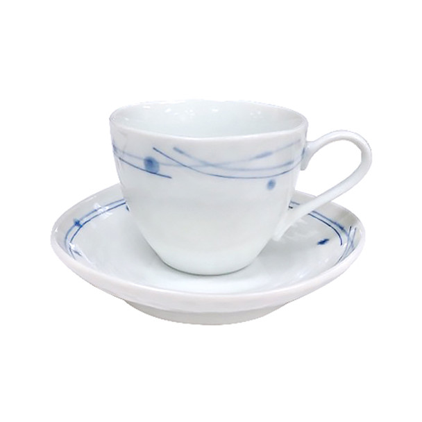 Kansai Blue & White Coffee Cup and Saucer - Set of 5