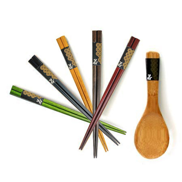 Chanko Dining Wooden Chopstick and Rice Scooper Set Color
