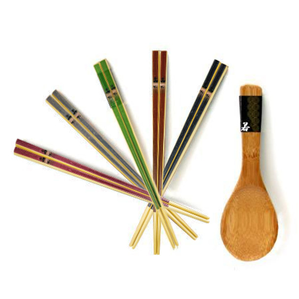 Chanko Dining Wooden Chopstick and Rice Scooper Set Color Bamboo