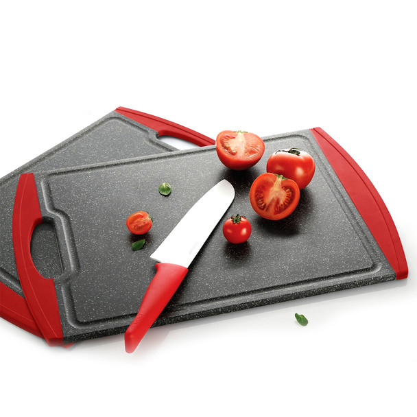 Neoflam kitchen cutting board black and red Poly nonslip antimicrobial, no knife dull