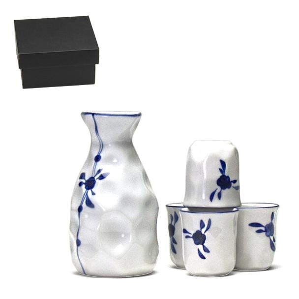 Blue Flower 5pc Sake Set, Serving 4