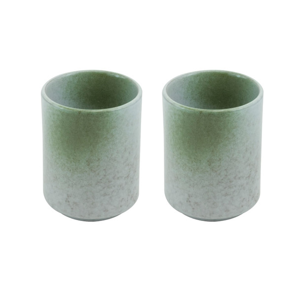 "Japanese Green Stone Texture Tea Cup 4.25""H, Set of 2"