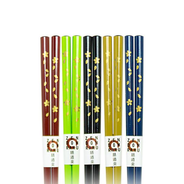 Gold Flower Foliage Chopsticks, Set of 5