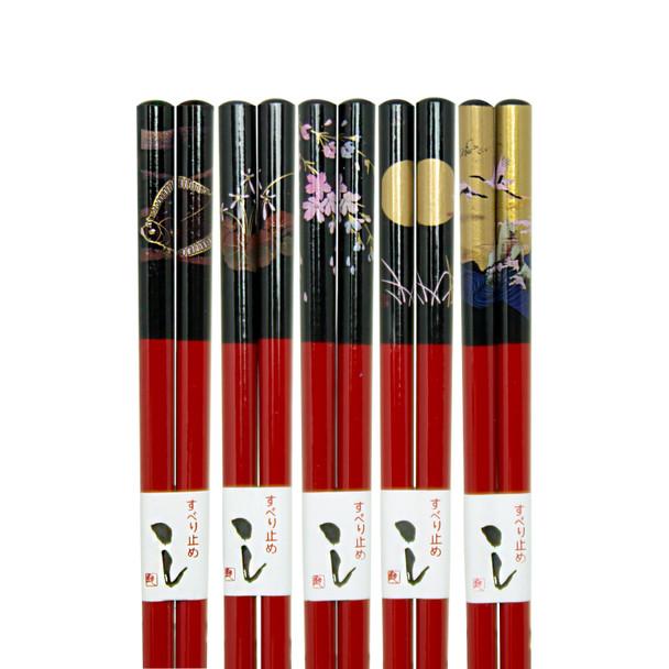 Red & Black Landscape Chopsticks, Set of 5