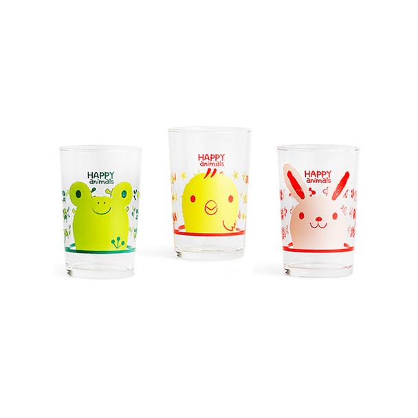 Happy Animal Glass Tumbler Set - 3pcs 6oz