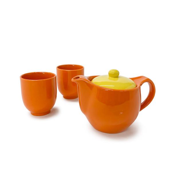 Bright 3pc Tea Set, Orange