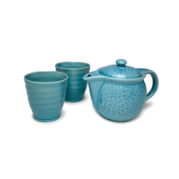 Textured 3pc Tea Set, Turquoise