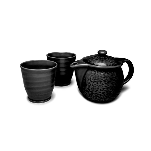 Textured 3pc Tea Set, Black