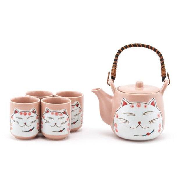 Shy Cat Tea Set - Teapot with Strainer and 4 Teacups, Pink