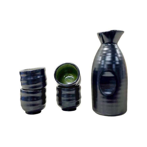 Tougei Black and Green Alloy 5pc Sake Set