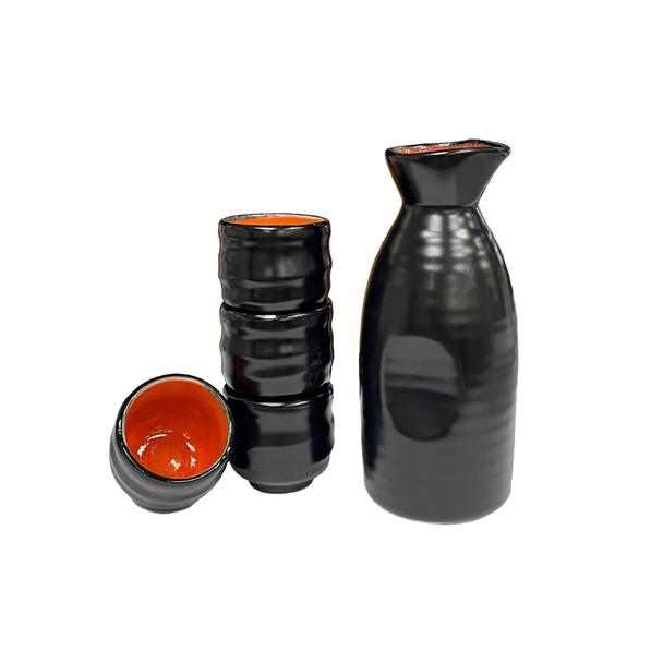 Tougei Black and Orange Alloy 5pc Sake Set