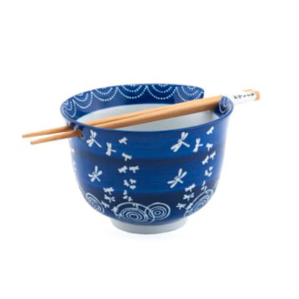 Dragonfly Bowl w/ Chopstick - Blue
