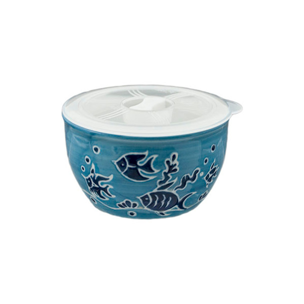 Swimming Fish Illustration Bowl with Lid