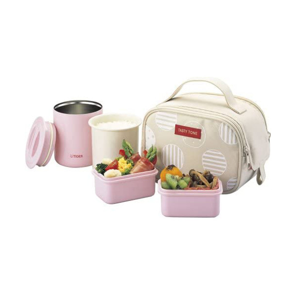 Tiger Stainless Steel Lunch Jar with Container and Bag (Mahobottle Bento Box)