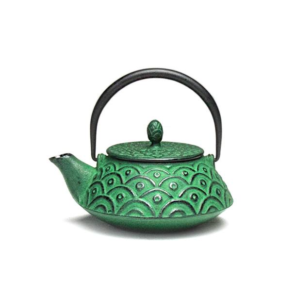 Rikyu Wave Cast Iron Teapot - Green