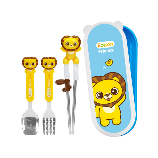 Edison Lion Friends Stainless Steel Chopsticks, Spoon, and Fork Set with Case, Right-Hand - Hion