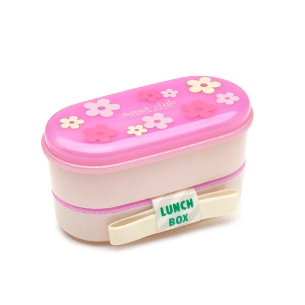 Pink Flower 2-Tier Anti-Bacterial Bento Box