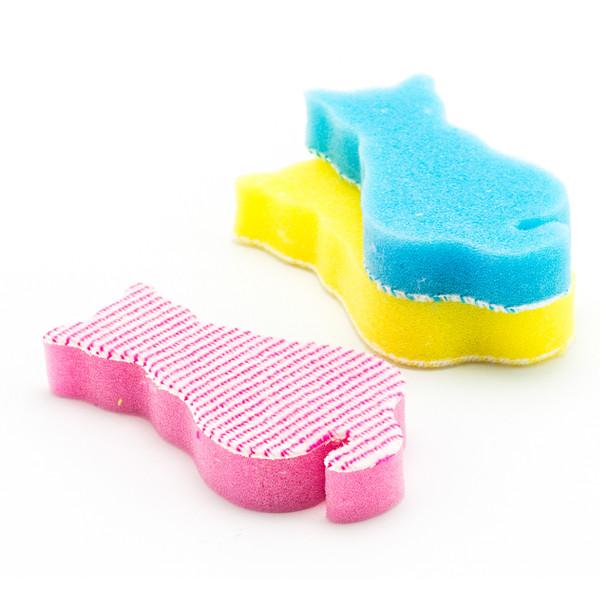 Cat Shape Kitchen Sponge, Assorted Color - 10pc