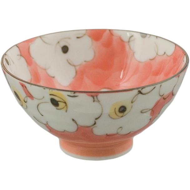 "M54-4 Minoru Porcelain Rice Bowl Traditional Modern Floral Design Red White 4.5"" D Made in Japan"