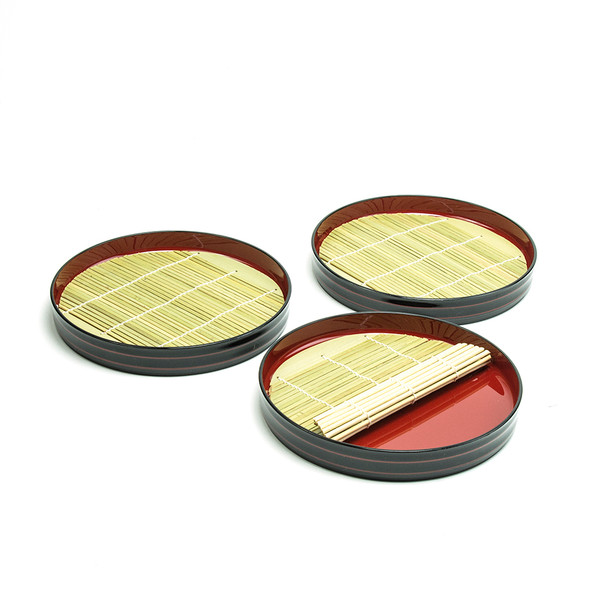 Stackable Round Soba Tray 3pc Set
