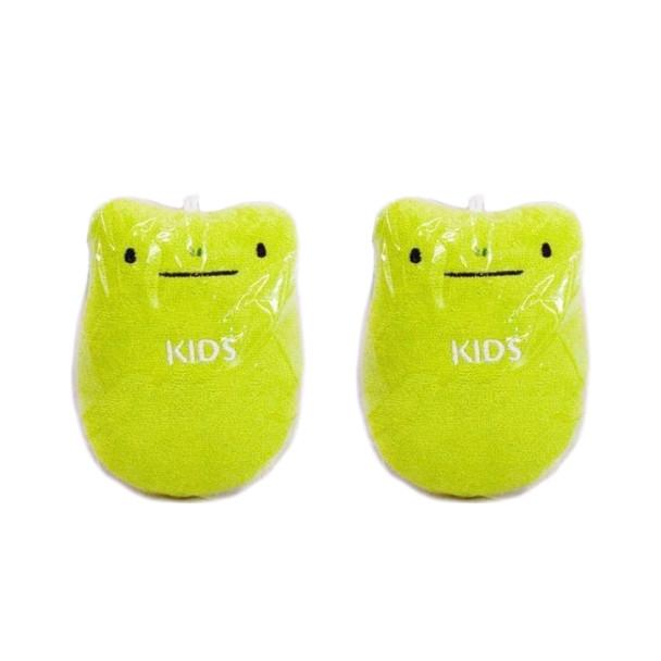 KIDS Cotton Body Sponge - Green, Set of 2