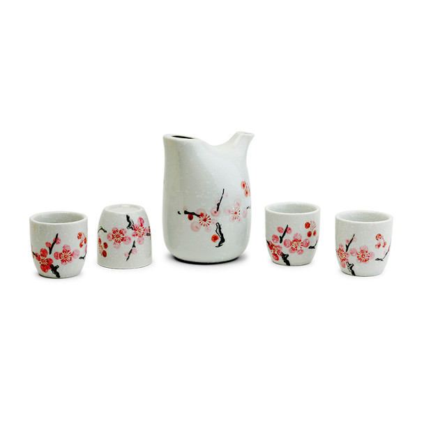 Japanese Ume Branch Porcelain Sake Set- 5pcs