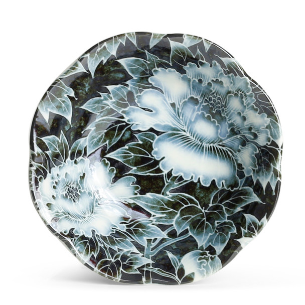Black-Blue Monochrome Peony Bowl Set - 4pcs
