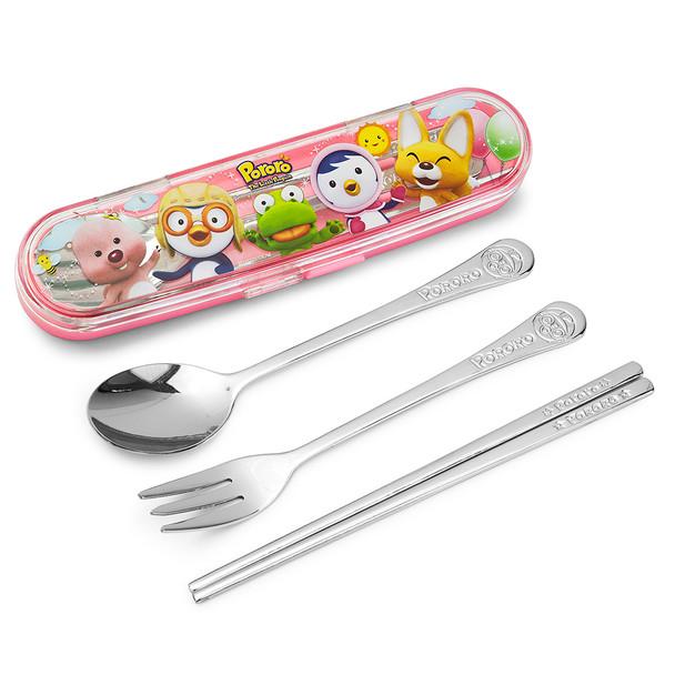 Pororo Stainless Steel Spoon, Fork, Chopstick Hardcase Set - Pink