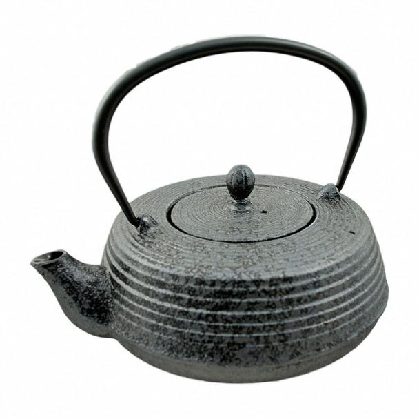 Cast Iron Teapot Flat - Black