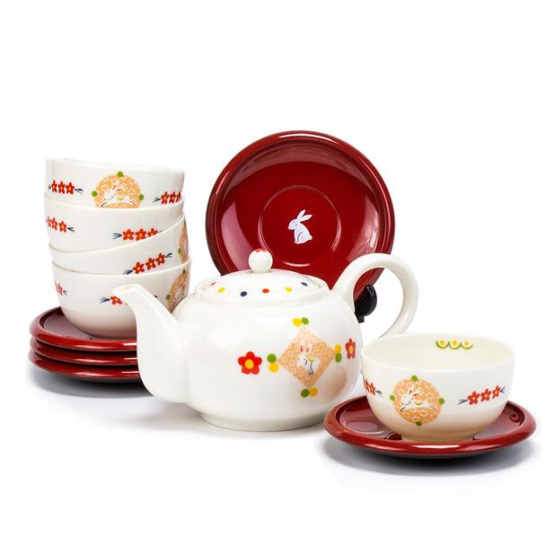 Porcelain Rabbit Teacup, Saucer, Teapot Set - serving for 5