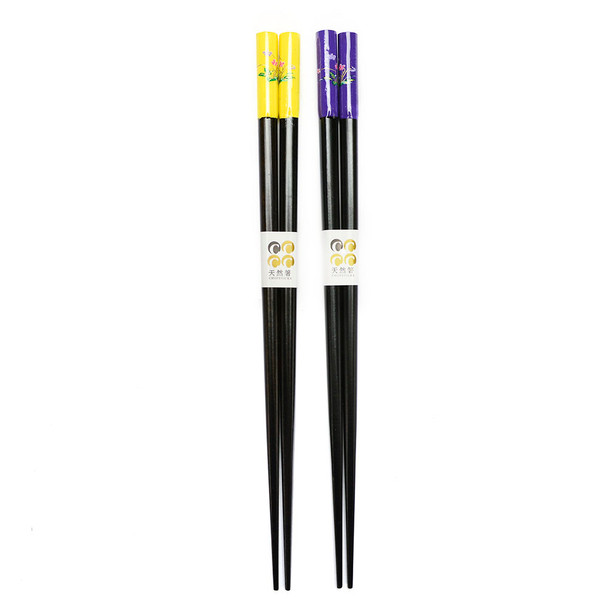 Couple's Wooden Chopsticks Yellow and Purple-Flower 2pc Set