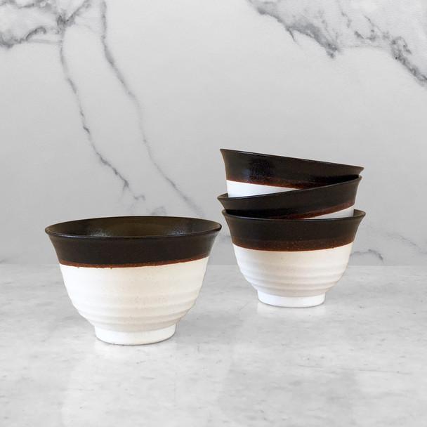 Modern Stoneware Bowl - Black/White, Set of 4