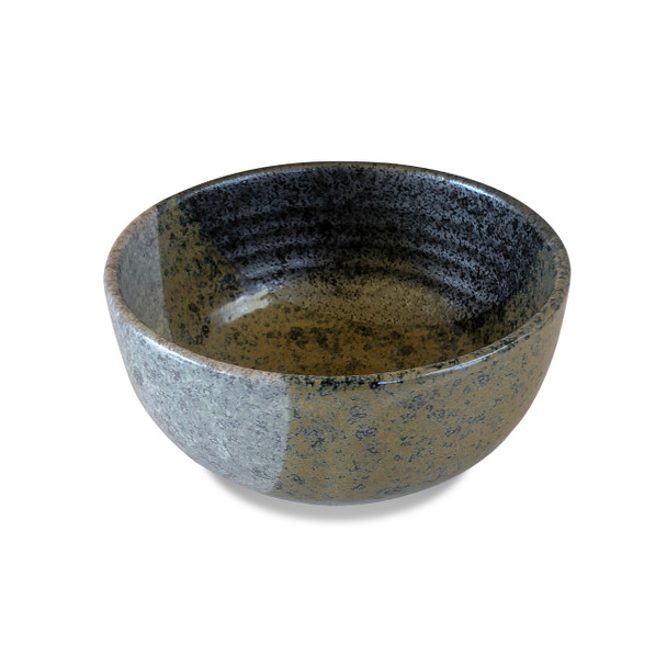 "Geometric Grey/White Stoneware Serving Bowl 6.25"""
