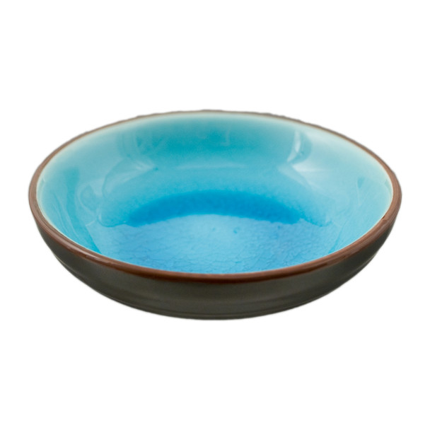"Two Tone Reactive Glaze Blue Bowl 5.75""D"