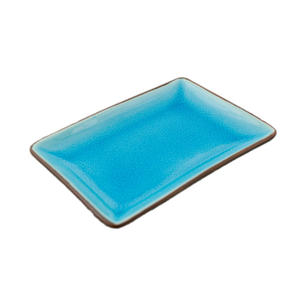 "Two Tone Reactive Glaze Blue Plate, 6.5""x4.5"""