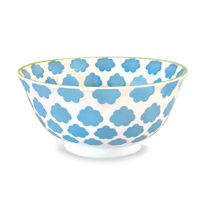 Cloud Pad Printed Bowl, Set of 2, Sky Blue/Lime