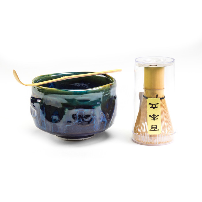 Matcha Ceremony Set, Matcha Bowl with Whisk and Spoon - Blue