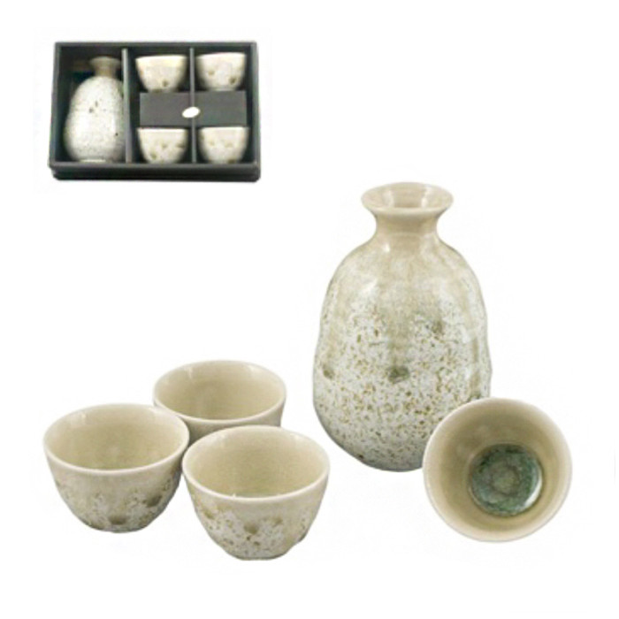 Earthen 5pc Sake Set 4 Cups 1 Bottle