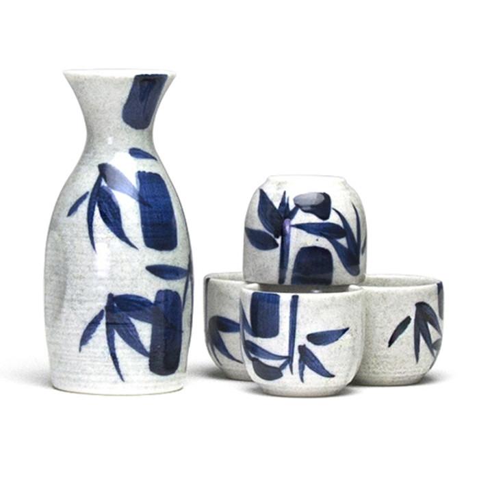 Kafuh Bamboo Sake Set Blue Stroke