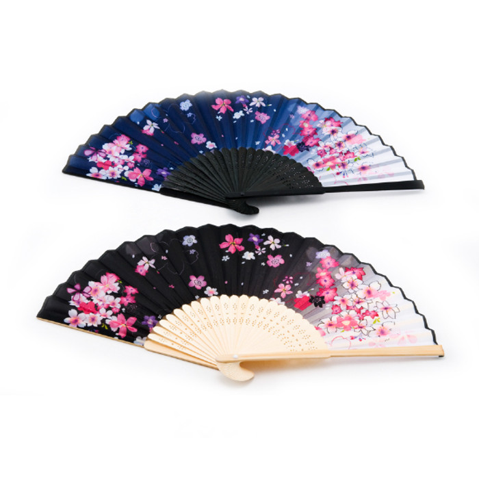 Night Flower Folding Fan 2pc Bamboo Handle, Assorted Blue/Black