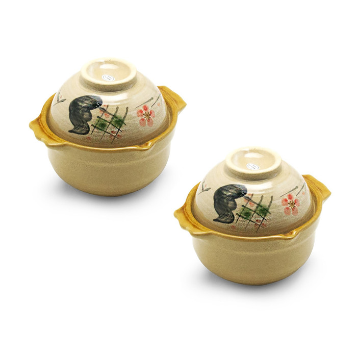 "Cherry Blossom Donabe 6""D, Set of 2"